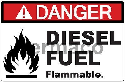 "5x DANGER DIESEL FUEL FLAMMABLE SAFETY ANSI OSHA STICKER LABEL POLYESTER 3""X2"""
