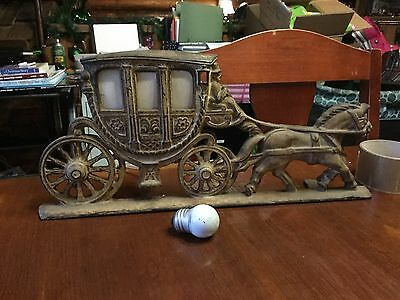 ANTIQUE 1930s CAST IRON SPANORA BUDOIR LAMP STAGE COACH EQUESTRIAN ART DECO