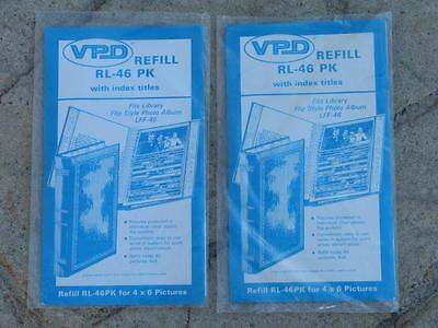 """(2) New - VPD Photo Album Refill Packs #RL-46, for 40 4""""x6"""" photos, with indexes"""