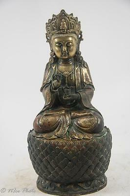 """Exquisite Antique Seated Bronze Kwan Yin, Probably Qing Dy 7lb., 12 oz., 11"""""""