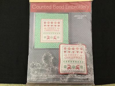 Cross stitch kit, glass embroidery beads, thread, and fabric included,sampler,
