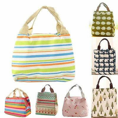 Insulated Thermal Lunch Bag Containers Cooler Portable Tote Storage Canvas Bag
