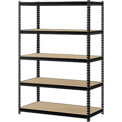 "Muscle Rack 48""W x 24""D x 72""H 5 Shelf Steel Sturdy Shelving Storage Black"