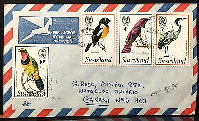 Swaziland 1977 Airmail to Canada . Birds stamps .
