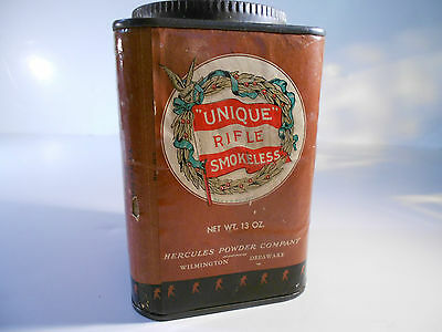 Vintage antique Unique Rifle Smokeless HERCULES POWDER COMPANY CAN TIN EMPTY