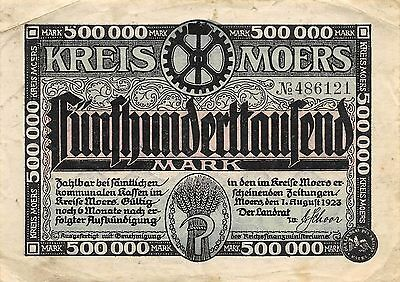 Germany / Moers 500 000 Mark 1.8.1923  Circulated Banknote GH14