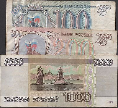 Russia 100 , 200 & 1000 Rubles  1993 & 1995  3 Circulated Banknote