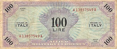 Italy 100 Lire   1943   Series  A-A  WWII  Issue  Circulated Banknote jE14J