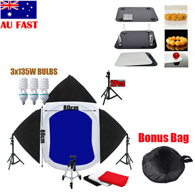 80cm CubeTent Photo Photography Studio +3 Soft Box Lights +4 Backdrops Stand Kit