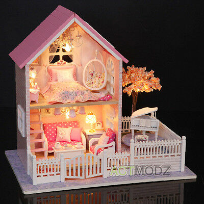 Princess Cottage Dollhouse Miniature DIY Kit Dolls House With Furniture Gift HOT