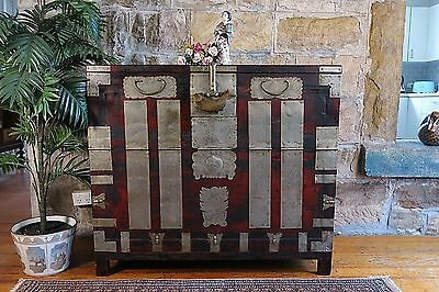 Antique Oriental Cabinet~Chest~Sideboard~Tansu~Chinese~Silver Metal