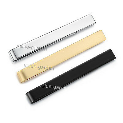 Honey Bear Mens Boys Stainless Steel Tie Clip Clasp Bar 54mm (Silver Black Gold)
