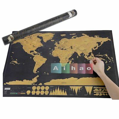 Scratch Off Deluxe World Map Poster Personalized Travel Vacation Personal Gift