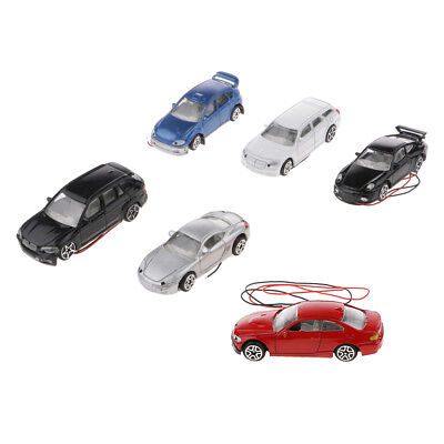 Pack of 6pcs Model Flaring Cars 1:64 S Scale Building Park Landscape Scenery