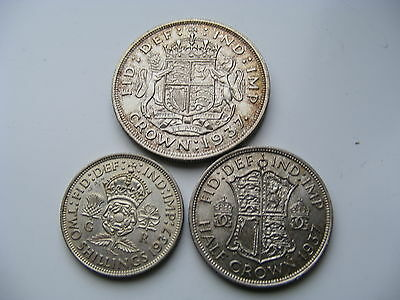 George VI Silver Coin Crown Half Crown Two Shillings 1937 Superb Condition