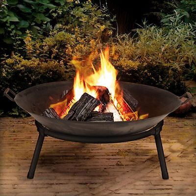 outdoor Garden Ellister Fire Bowl - 60cm Diameter Pit Patio Heater Log Coal