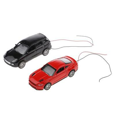 Pack/2pcs Model Flaring Cars With Wires Layout Train Railroad Street Garden