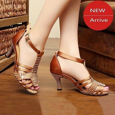Latin dance shoes diamond satin high-heeled Square Dance shoes soft bottom