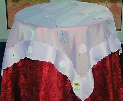 Adelphi White And Lilac Applique Embroidered Polyester Small Square Table Cloth