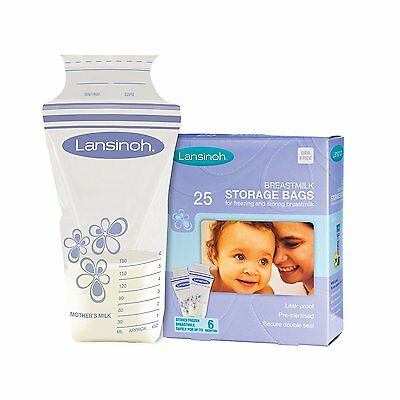 Lansinoh Breastmilk Storage Bags (Pack Of 25) New Easy Storage Food Safe