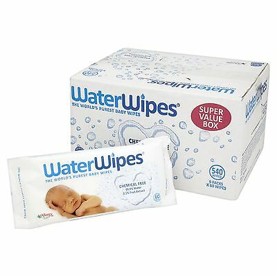 WaterWipes Chemical Free Baby Wipes Natural & Sensitive 9 x 60 (540 Wipes)