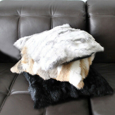 Deluxe Sofa Pillow Case Soft Comfort Real Rabbit Fur Cushion Cover Warm Vintage