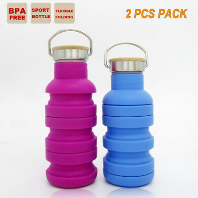 2x COLLAPSIBLE GYM OFFICE WATER BOTTLE OUTBACK CAMPING TRAINING SPORT CUP KETTLE