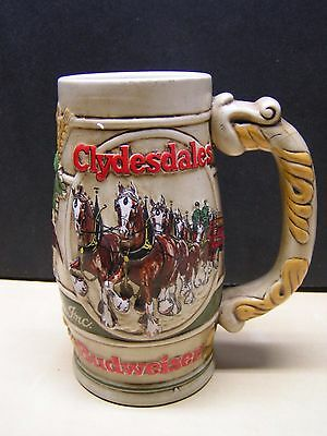 Budweiser 1983 Ceremarte Clydesdale Wagon & Eagle Beer Stein Holiday Collectible