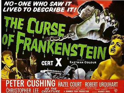 """Curse of Frankenstein 1957 16"""" x 12"""" Reproduction Movie Poster Photograph"""