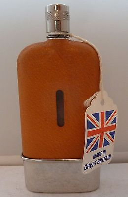 1950's Silver Plate Plated Leather Bound Glass Hip Flask Original Box & Tags