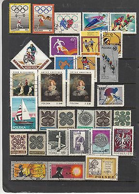 POLAND on Hagner Sheet Removed for Postage ...Mostly CTO Olympics ,Sport,etc..