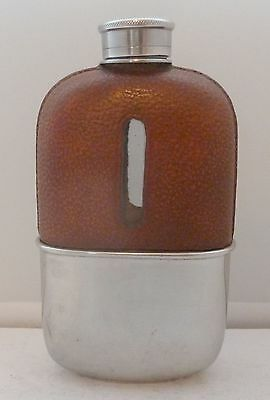 1940's Silver Plate Plated Leather Bound Glass Hip Flask