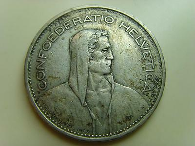 1933 B Switzerland 5 Francs Confoederatio Helvetica Swiss Coin 5 Fr Five