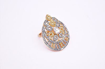 New Year Special Traditional Look Ethnic Wear Gold Plated American Diamond  Ring