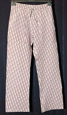 Christian Dior Women's signiture pink monogram pants trouser 8 small vintage 90s