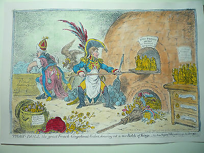 """James Gillray. """" Tiddy-Doll The Great French Gingerbread Baker ."""" Very Rare."""