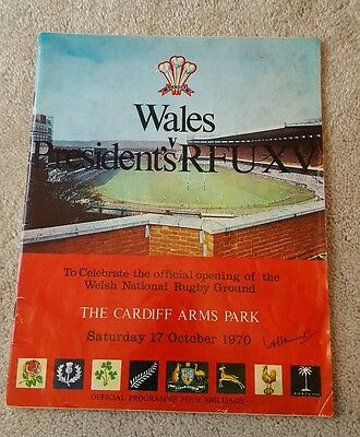 wales v Presidents xv 1970 rugby union programme