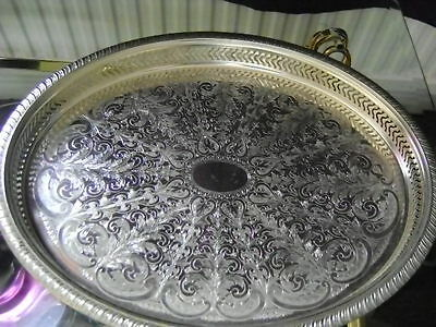 """Large Vintage Silver Plated Gallery Serving Tray Butler Cavalier size 16""""x13"""""""