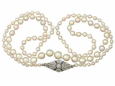 Natural Pearl Necklace with 0.15 ct Diamond, 0.05 ct Sapphire & 18 ct Gold Clasp