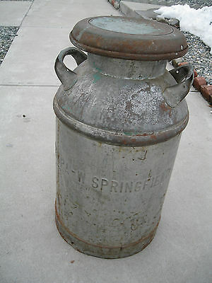 Vintage Old  Milk Can  West Springfield, Massachusetts  10 Gallon Heavy steel