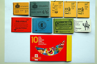 9 x GREAT BRITAIN & 1 x GUERNSEY QEII STAMP BOOKLETS 1967-1990