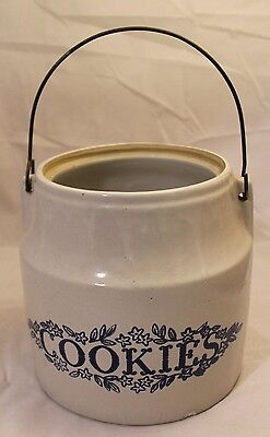 """Vintage Western Monmouth Crock """"Cookies"""" with Wire Handle - No Lid"""