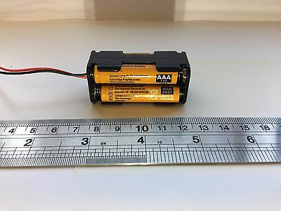 AAA x 4 Square Battery Holder Black With 150mm Leads