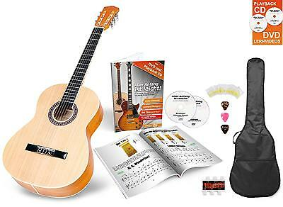 Classic Acoustic Guitar Set Nylon Strings Gigbag Pitch-Pipe Tuner Plectrums 3/4