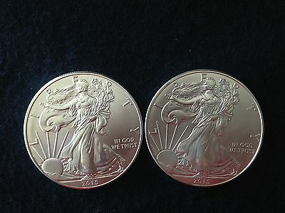 Two (2) 2015  American Silver Eagle Coins:  - 2 oz Bullion - No Reserve