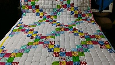 Girl Handcrafted Handmade Pieced Double Irish Chain  Baby Crib Throw Lop Quilt