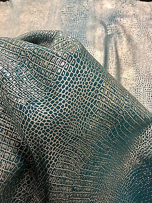 8 Sq Ft Turquoise And Metallic Silver Genuine Italian Leather Skin / Hide