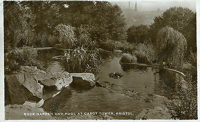 1938 Postcard Rock Garden and Pool at Cabot Tower BRISTOL