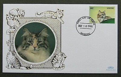 Lesotho Benham Cats Kittens FDC 18 5 1998 Maine Coon