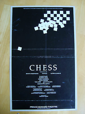 """""""chess"""" - 1986 Prince Edward Theatre Poster - Elaine Paige, Murray Head"""